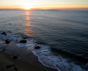 Sunrise from my hotel room balcony in Malibu